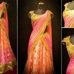 Peach Half Saree by Bhargavi Kunam