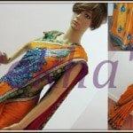 Beautiful saree with peacock motif