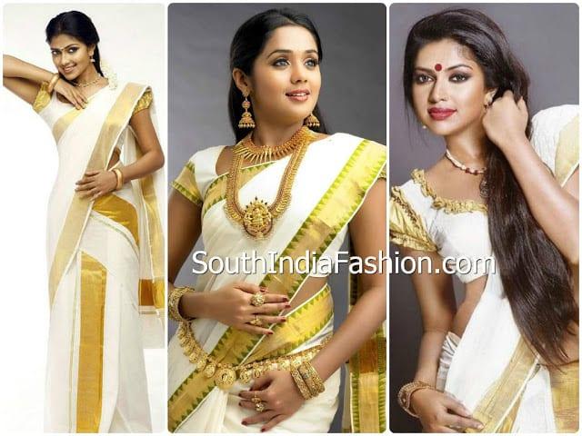 celebrities kerala saree