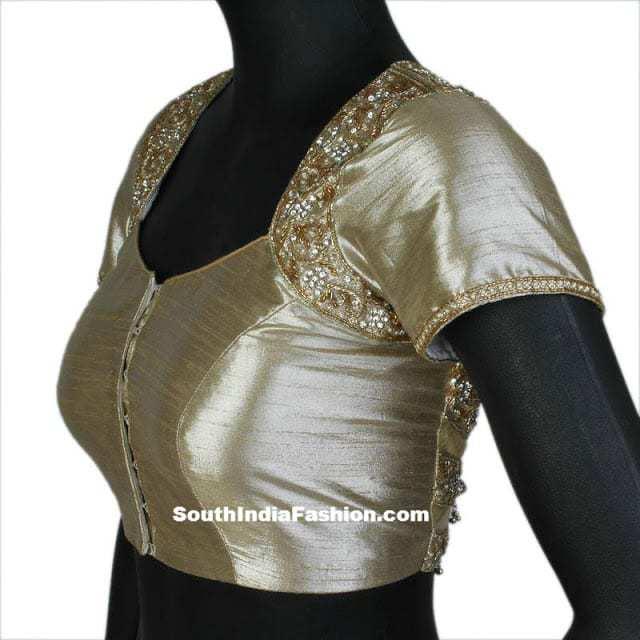 cream work saree blouse 2