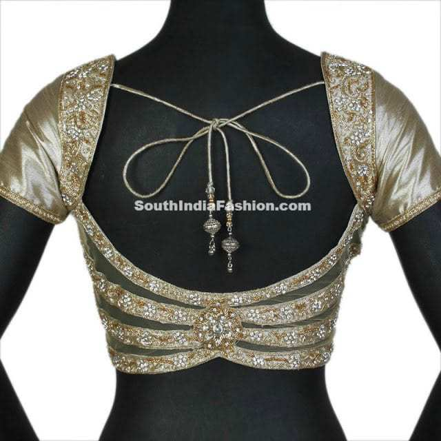 cream work saree blouse