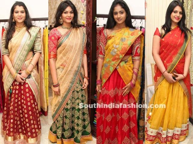 golden threads half sarees
