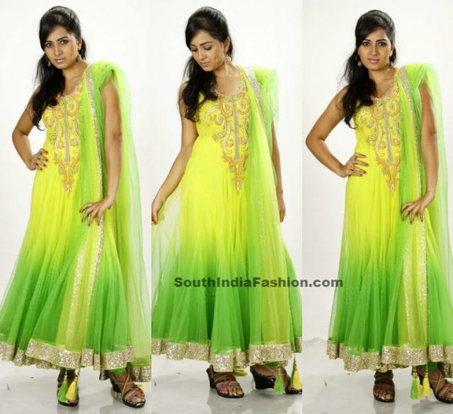 green net anarkali
