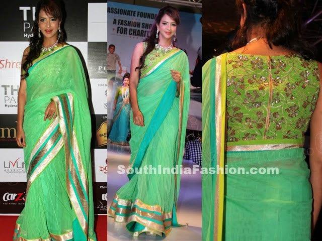 manchulakshmi green saree