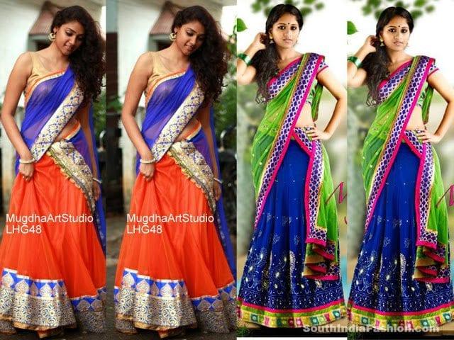 mugdha art studio half saree designs
