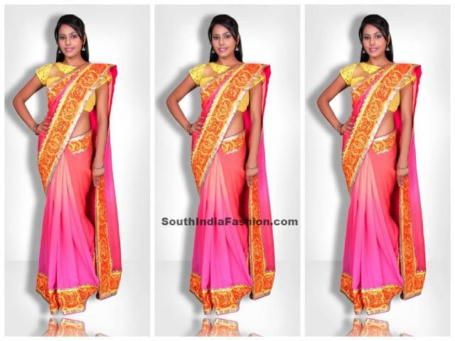 sagar tenali label saree pink
