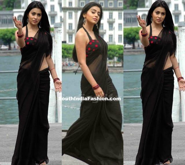 shriya saran black saree