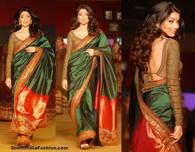 shriya saran green saree