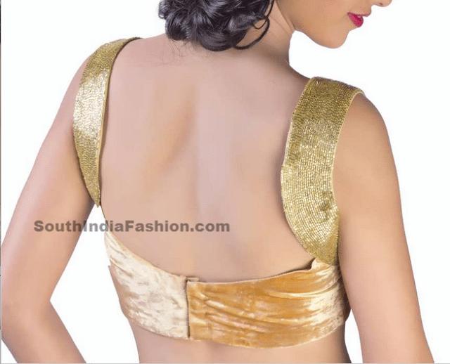velvet sleeveless blouse saree