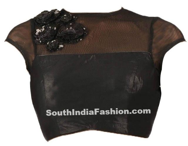 black saree blouse