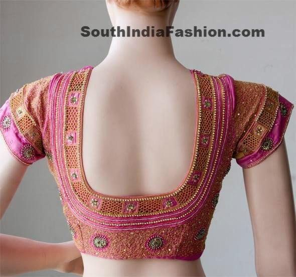 cut work saree blouse