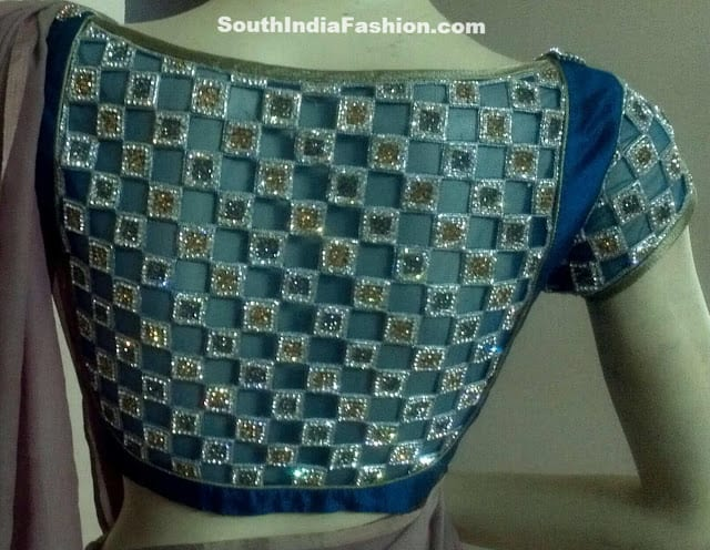 designer saree blouse netted