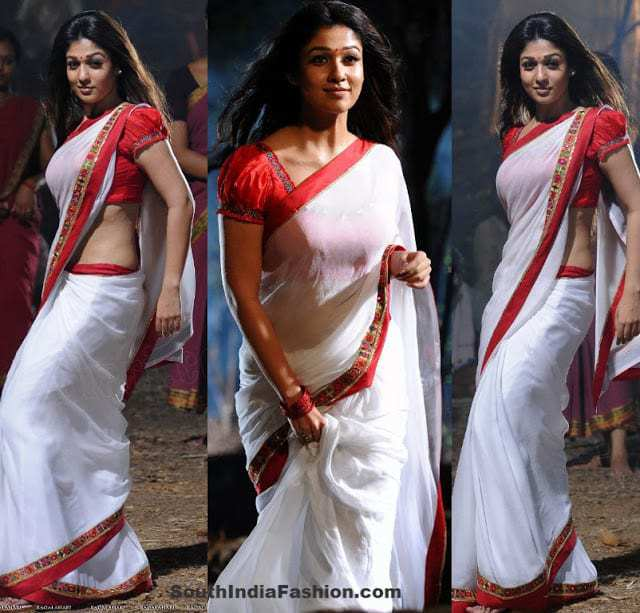 dcf3db1ca0fad5 Nayanthara in White Saree – South India Fashion