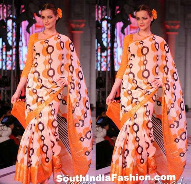 Model In Retro Style South India Fashion