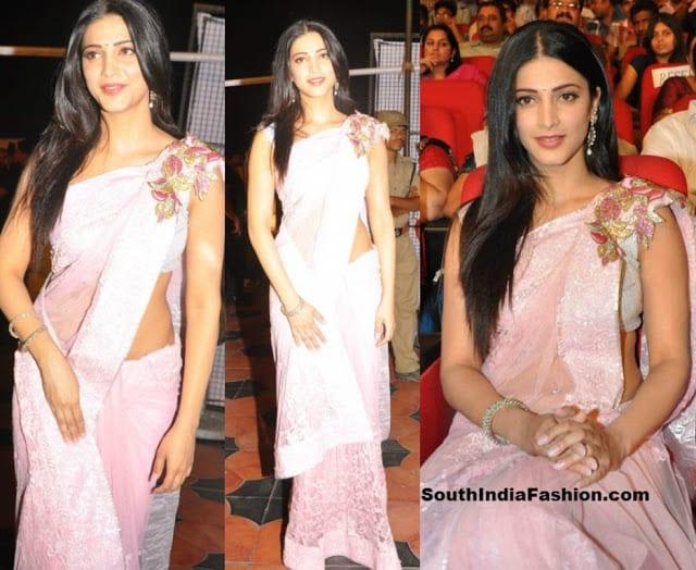 shruti hassan pink saree
