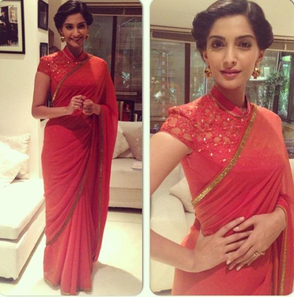 sonam kapoor red saree