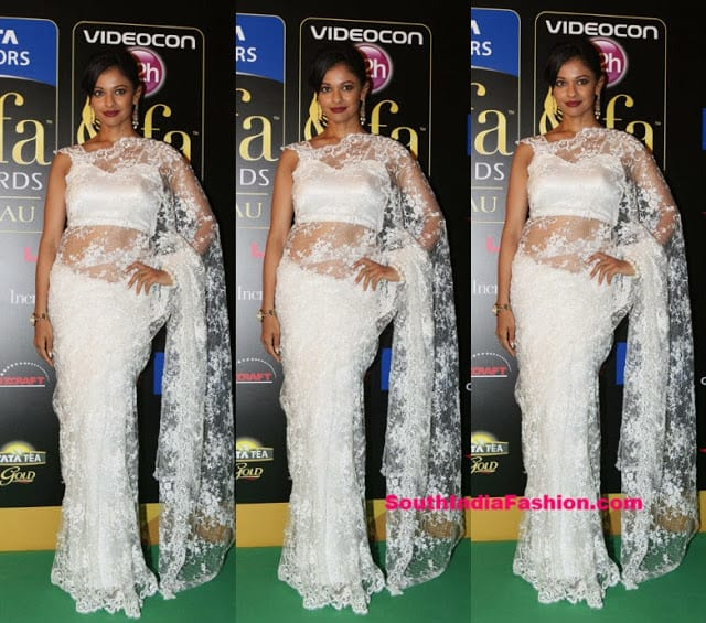 white lace saree