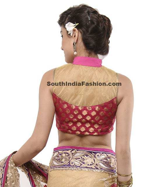high neck saree blouse