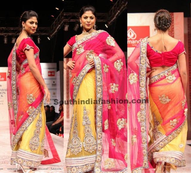 model yellow pink saree