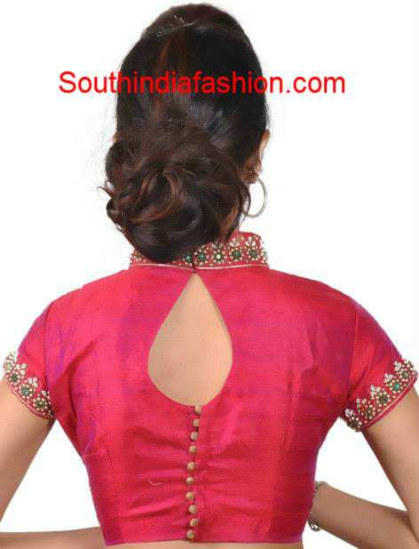 red collar neck blouse 2