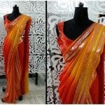 Red and Orange Shimmer Saree