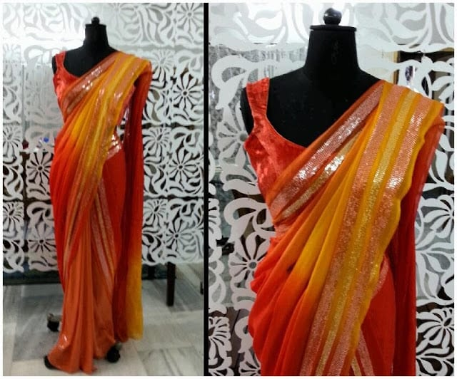 red orange saree