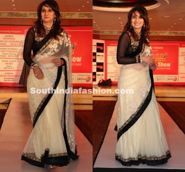 white sraee black maharani blouse