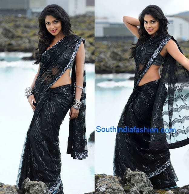 amala paulk black saree