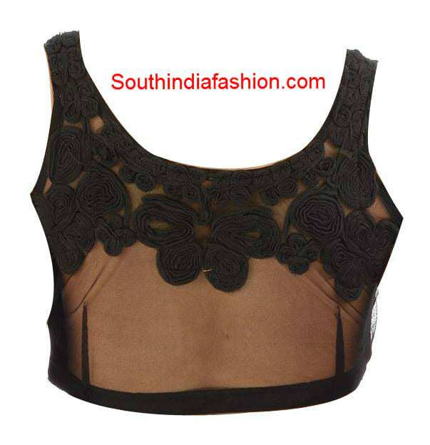 black net saree blouse