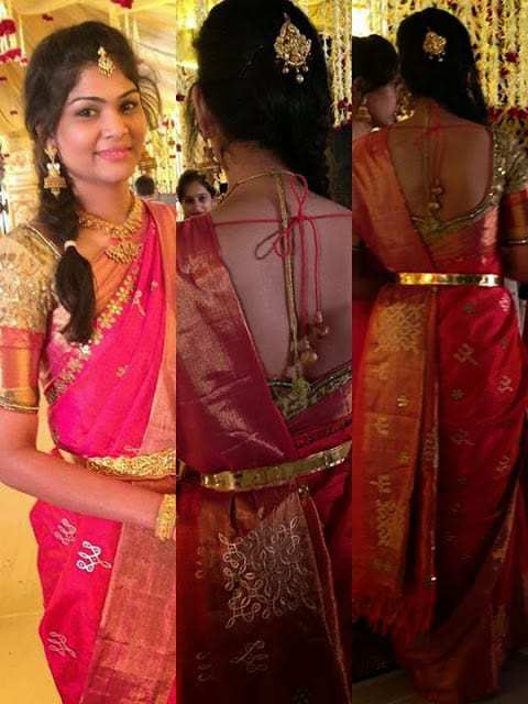 Bridal Saree and Blouse by Golden Threads