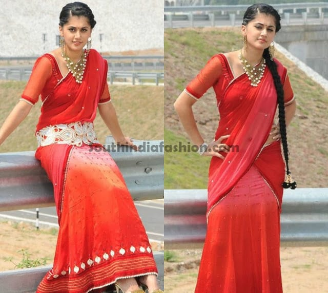 tapsi red half saree