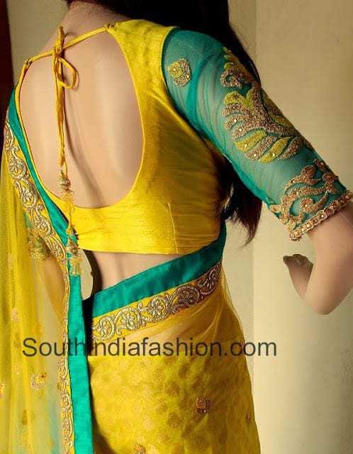 net sleeves saree blouse