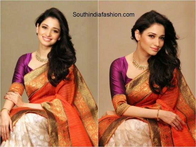 tamanna orange saree