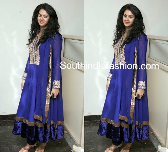 Blue Anarkali celebrity salwars