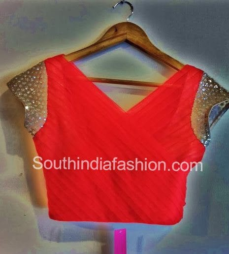 red saree blouse