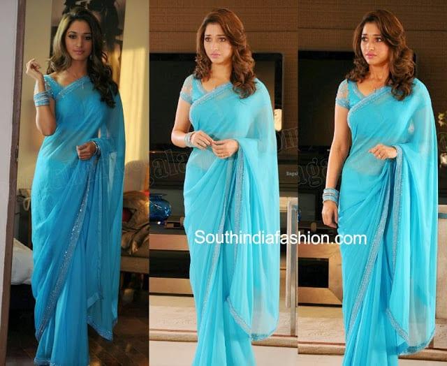 tamanna blue saree