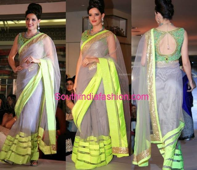 grey net saree by neerus �south india fashion