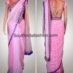 Baby Pink Designer Saree by Kanika Kedia