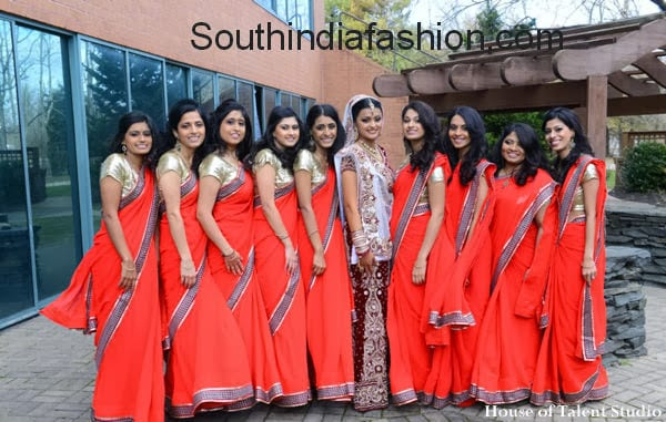 indian bridesmaids in sarees