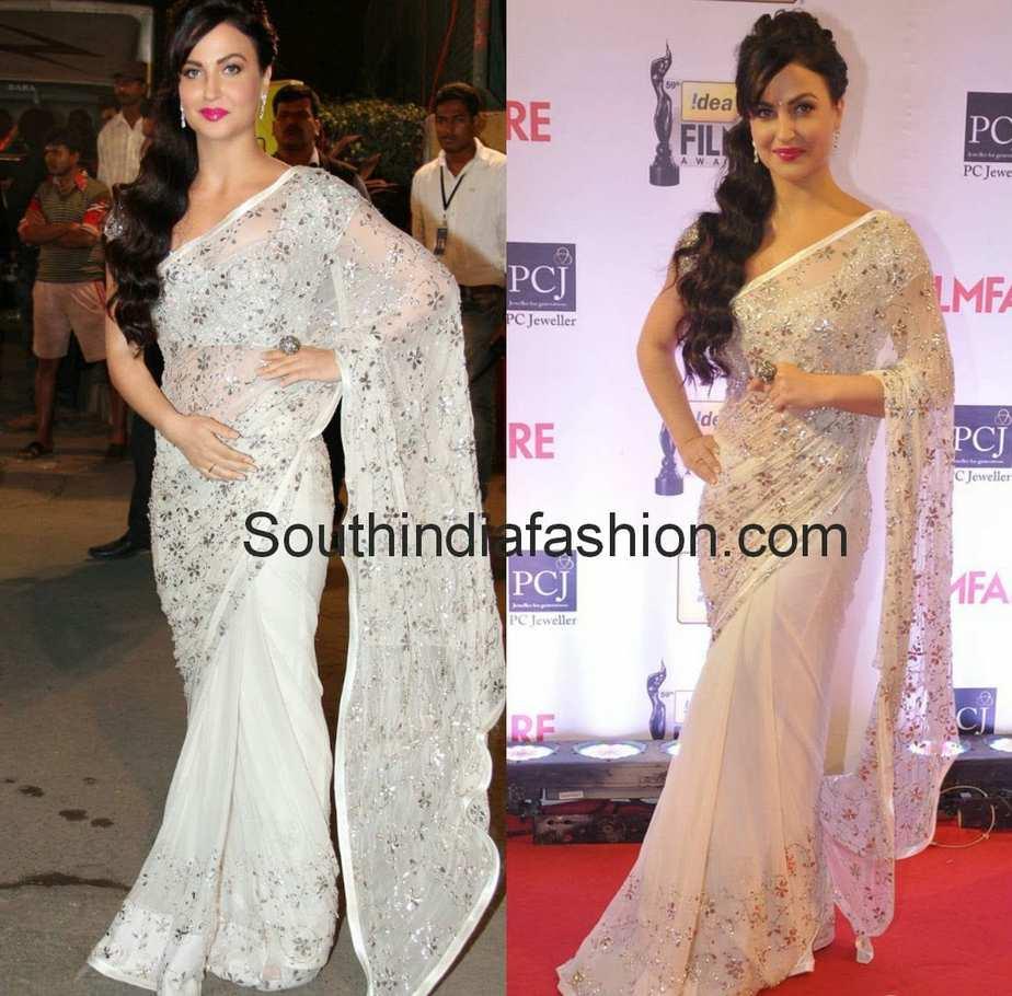 Bollywood Actress In White Saree South India Fashion