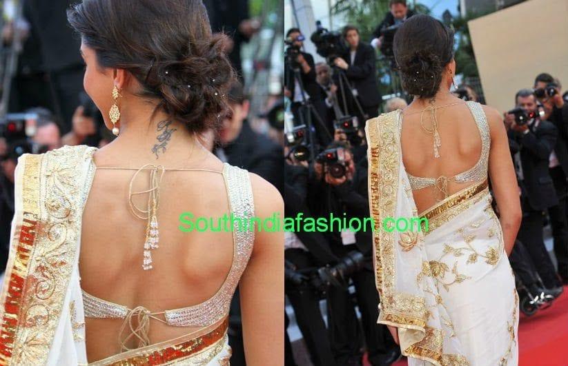 deepika padukone backless blouse