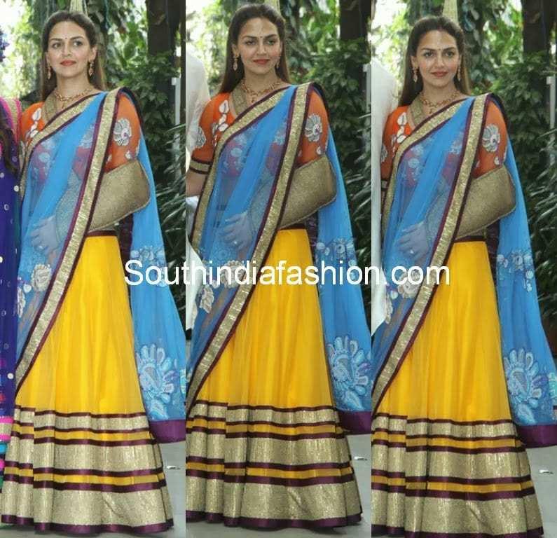 blue and yellow lehenga saree