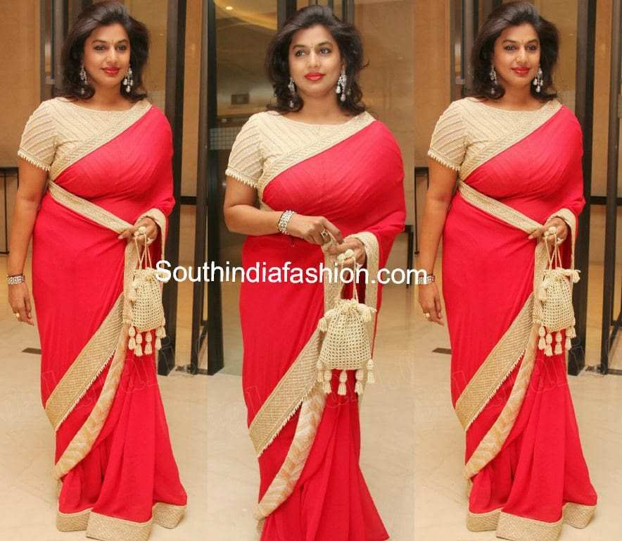 pinky reddy in red saree