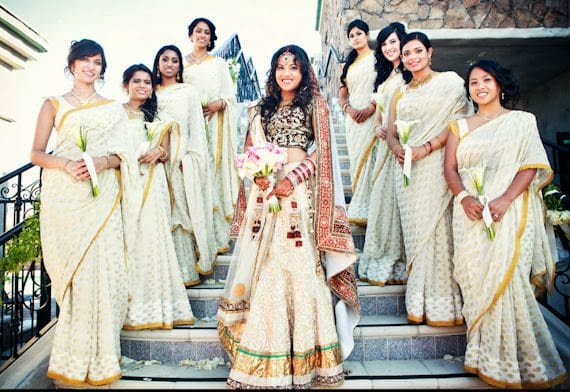 latest bridesmaid sarees