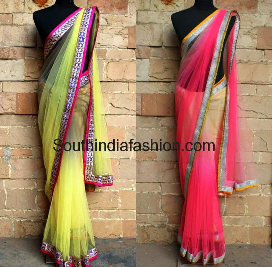 net sarees with borders