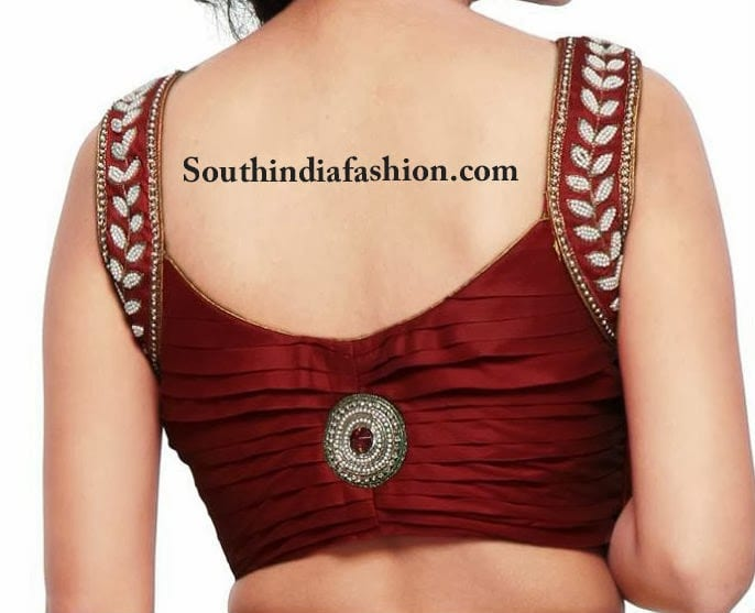 Stylish Pearl Embellished Blouse South India Fashion