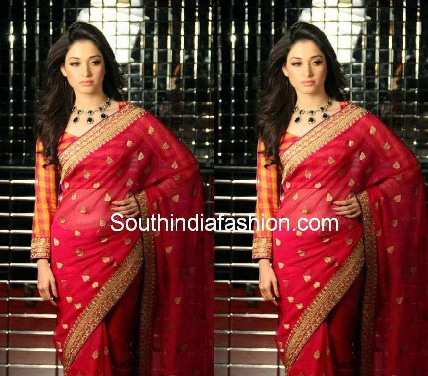 Tamanna In Red Saree