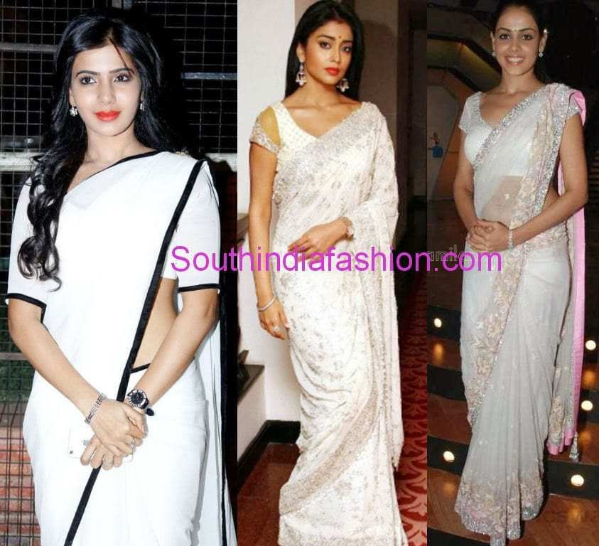 south actresses in white sarees