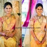 Bride in Gold Kanjeevaram Saree