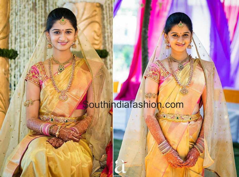Bride In Gold Kanjeevaram Saree South India Fashion